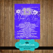 Purple Floral Sweet 15 Invitations