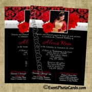 Roses Red Silver Quince Invitations