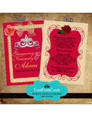 Red Roses & Beige Quinceanera Invitations with Back Printing
