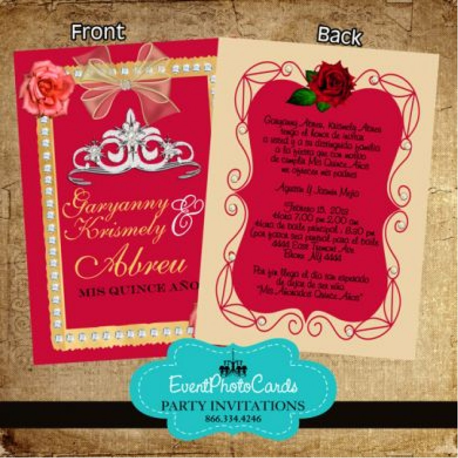 Red Roses Beige Princess Quinceanera Invites 15th Invites