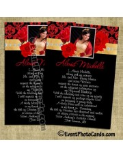 Roses Quinceanera Invitations -Red and  Gold