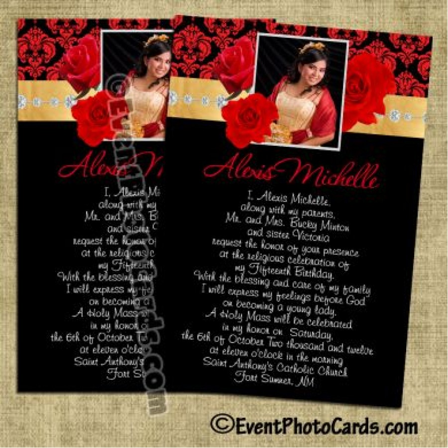 Roses Red Gold Quinceanera Invites Sweet 15