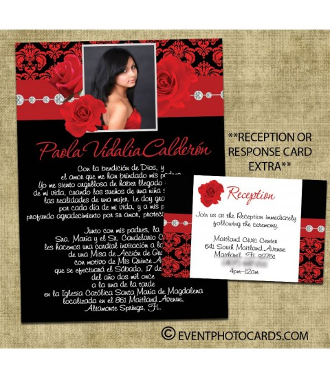 Roses Red Quince Invites, Sweet 15