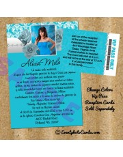 Roses Turquoise Silver Invitations Quinceanera