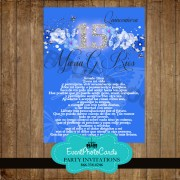 Royal Blue Butterflies 15 Invitations