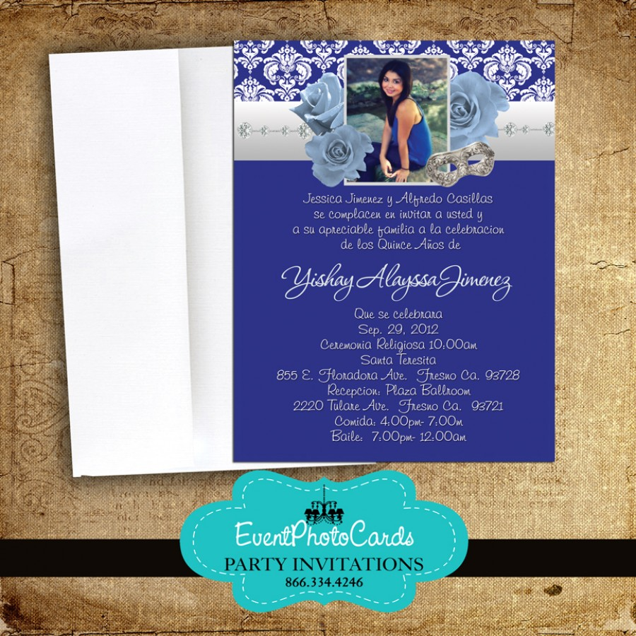 Royal Blue Roses Quinceanera Invitations Announcements