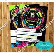 Neon Glow Sweet Fifteen Invites