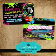 Glow Party Quinceanera Invitations - Credit Card