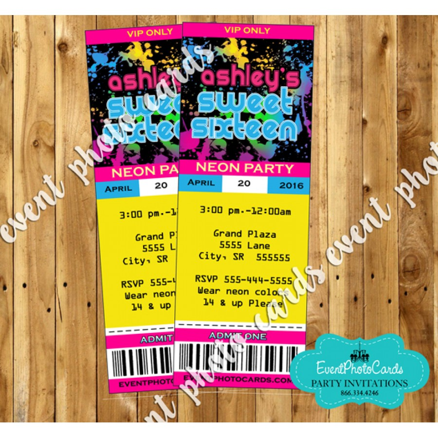 Glow Party Ticket Invitations - 16, Sweet Fifteen or Sixteen Party ...