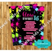 Neon Glow Sweet Sixteen Invitations - B