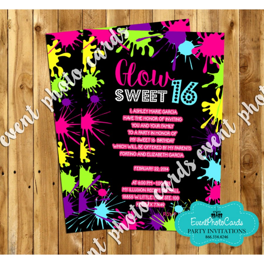 Neon Glow Sweet Sixteen Invites, Teen Birthday Invitations Custom ...