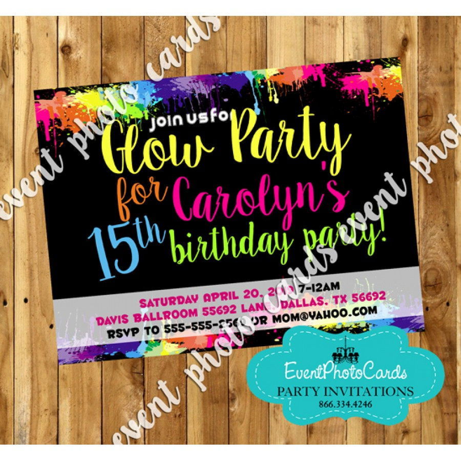 Neon Glow Sweet 15 Invites Quinceanera Birthday Invitations – Glow in the Dark Party Invitation Ideas