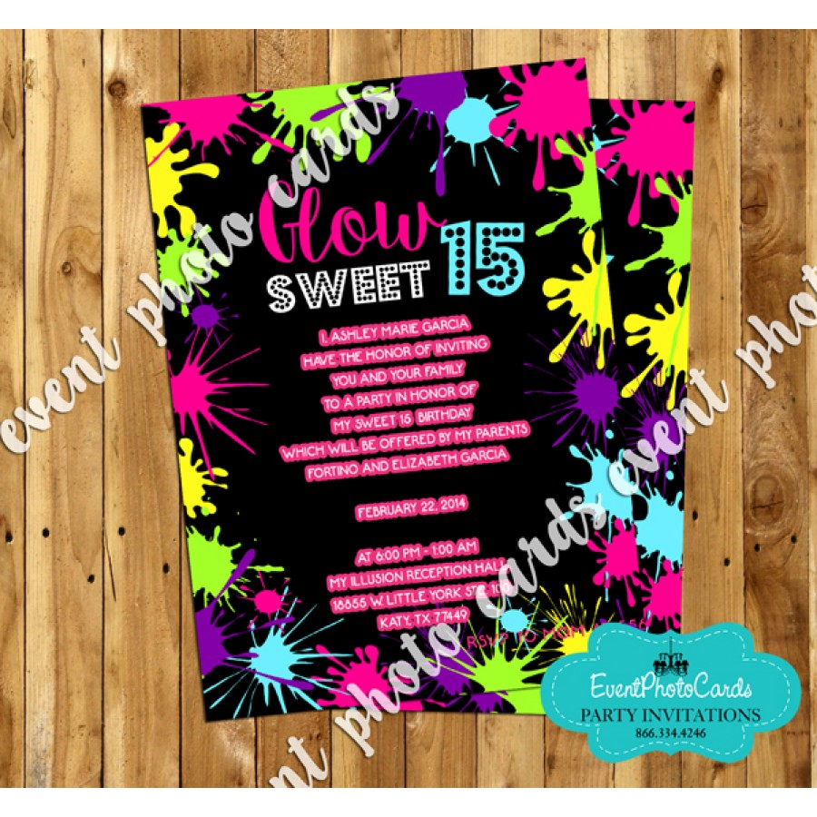 Neon Glow Sweet 15 Invites, Quinceanera Birthday Invitations Custom ...
