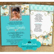 Gold & Turquoise Quinceanera Invitations A