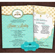 Gold & Turquoise Quinceanera Invitations B