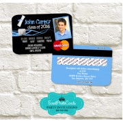 Blue Graduation Invitation Card - Credit Card