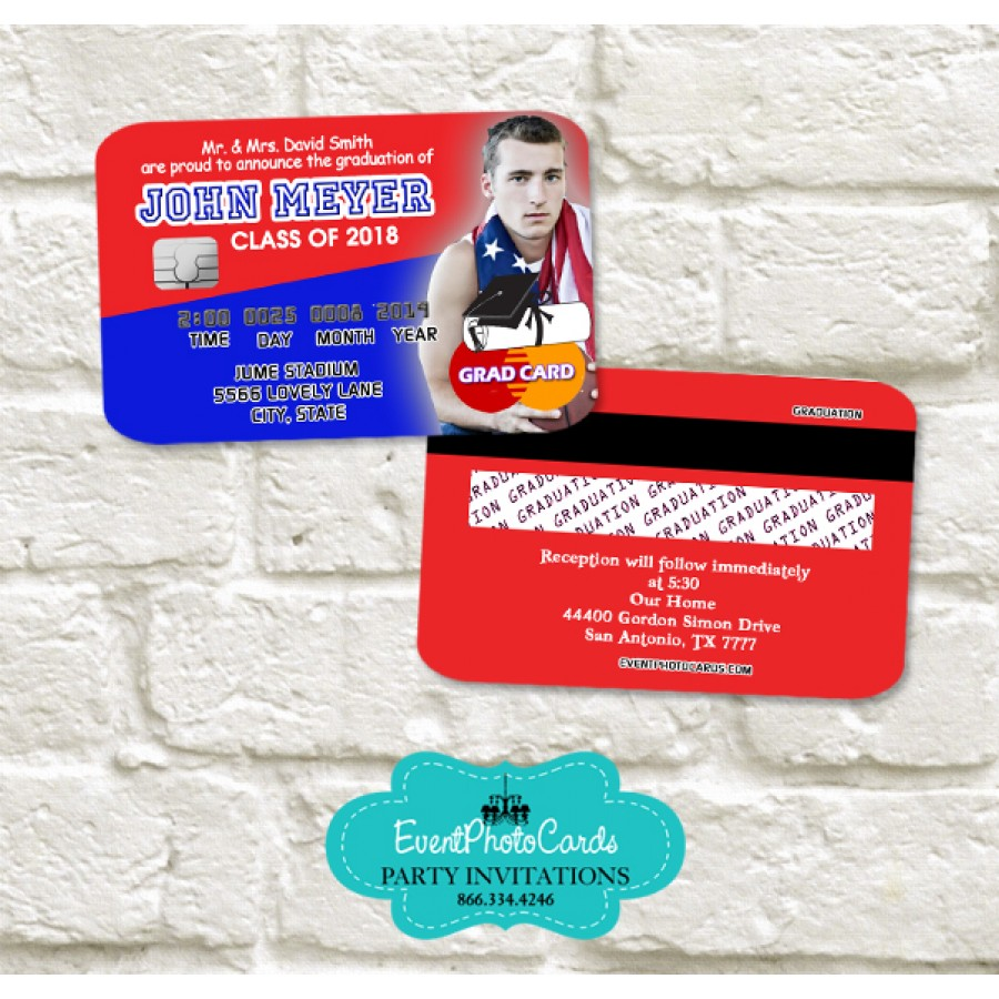 college graduation party invitations red blue personalized