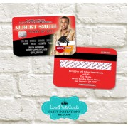 Red & Black Graduation Announcement Cards - Credit Card