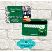 Green Damask Graduation Invitation Card - Credit Card