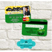 Yellow & Green Graduation Announcement Cards - Credit Card