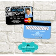 Grunge Blue Graduation Party Invitations