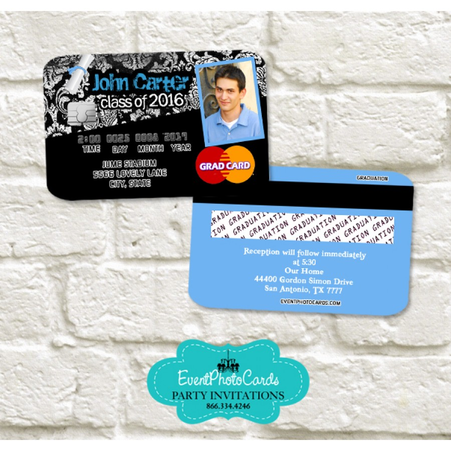 Grunge Blue Graduation Party Invitations Annnouncements Flame Grad -  Personalized