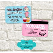 Kindergarten Graduation Announcement Cards - Girl Pink