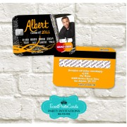 Orange Graduation Invitation Card - Credit Card