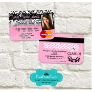 Pink Damask Girl Graduation Invitation Card - Credit Card