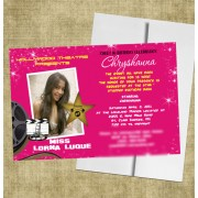 Pink Sweet 16 Invitations Hollywood