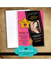 Pink Movie Star  Sweet 16 Invitations