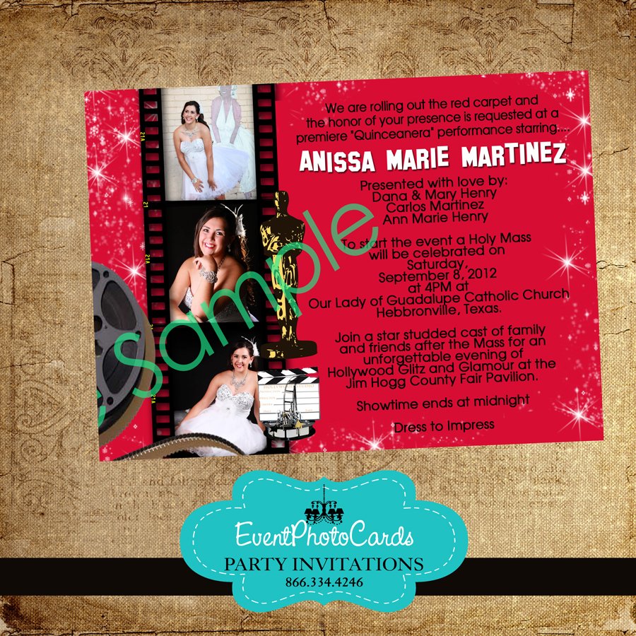 Red Oscars Hollywood Star Invitations, Party Invites