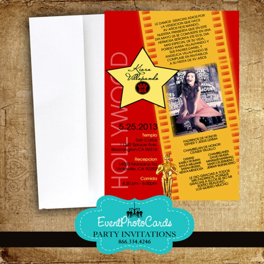 Red Oscars Quinceanera Invitations