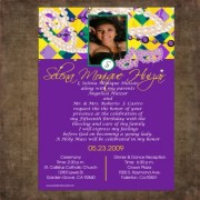 Mardi Gras Photo Quinceanera Invites #1