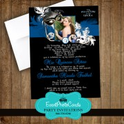 Blue Phantom of Opera Invitations