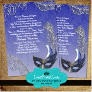 Royal Blue Masquerade Invitations - Silver