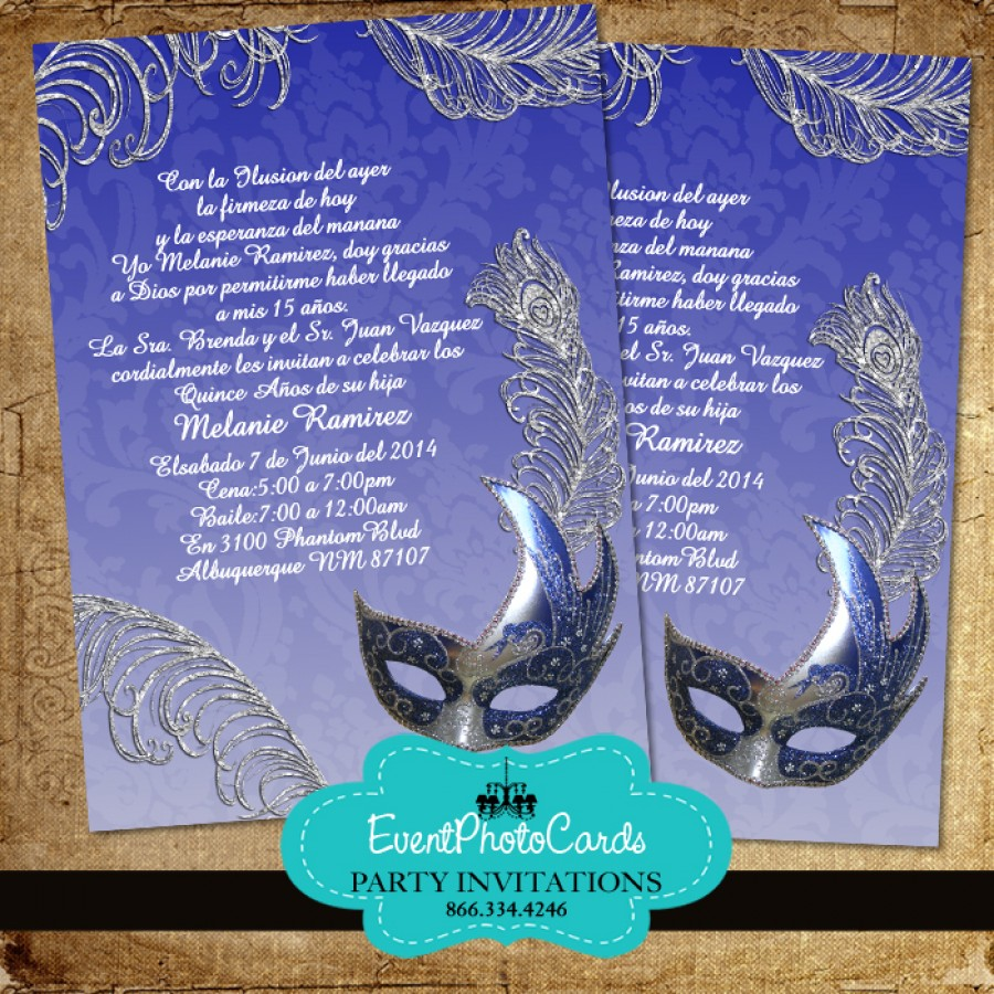 royal blue masquerade invitations