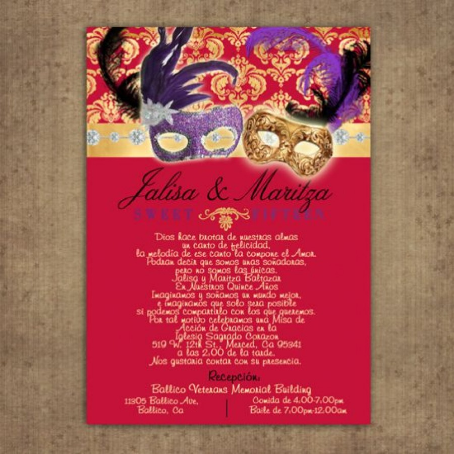 Burgundy Gold Invitations for Quince or Sweet 16