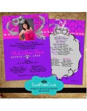Masquerade Fuschia Pink and  Purple Sweet Fifteen Photo Invites