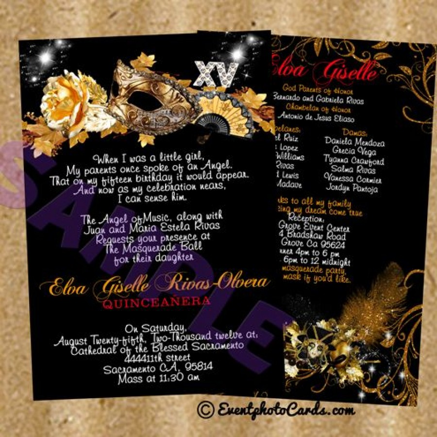 Gold Mask Black Shimmer sweet 15 birthday invitations