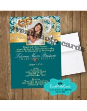 Mask Green Gold Quinceanera Invitations