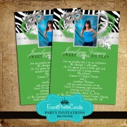 Green Masquerade Quinceanera Invitations