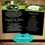 Masquerade Lime Green Quinceanera Invites