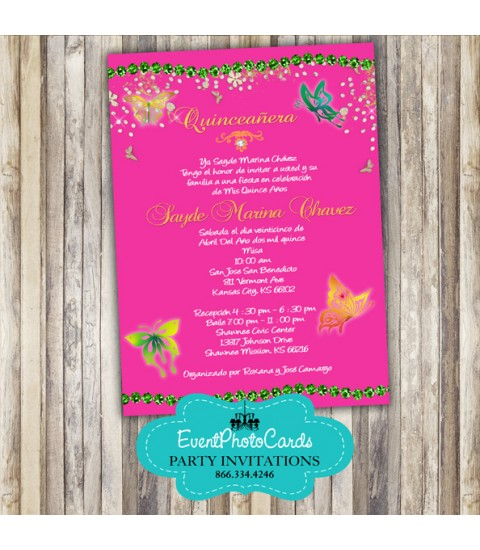 Butterfly Quince Invitation, Sweet 15