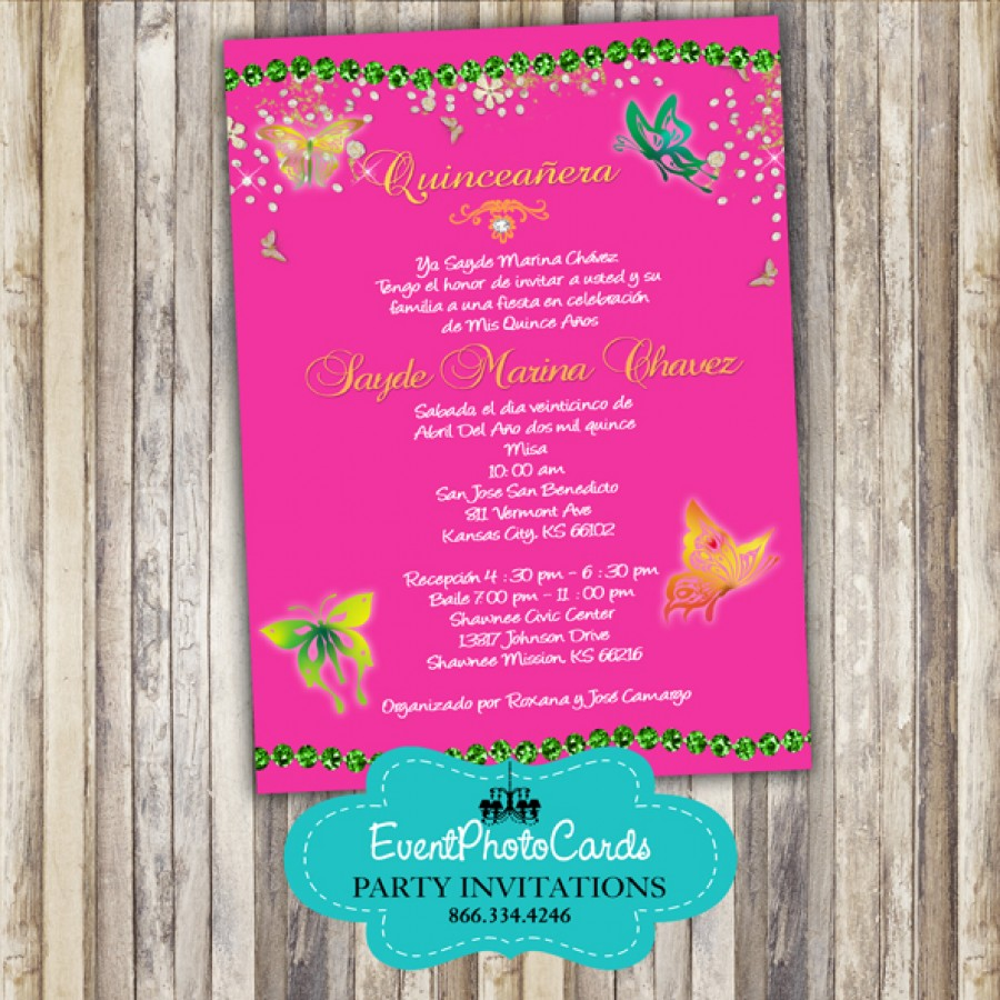 butterfly quince invitation  sweet 15