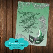 Green Masquerade Invitations - Silver Glitter Edition