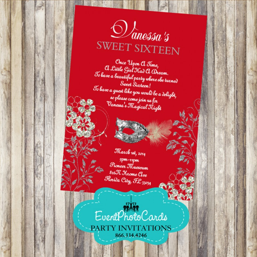 Quinceanera Masquerade Invitations Red