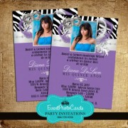 Zebra Mask Purple Invitations