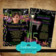 Mardi Gras Invitations Bourbon Quinceanera