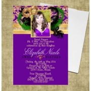 Mardi Gras Sweet 16 Photo Invitations #25
